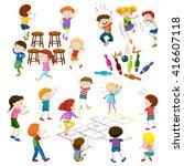 children play different kind of ... | Shutterstock .eps vector #416607118