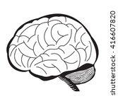 black and white of human brain... | Shutterstock .eps vector #416607820
