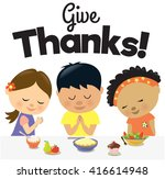 kids give thanks  | Shutterstock .eps vector #416614948