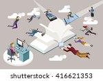 publishing sector staff flying... | Shutterstock .eps vector #416621353