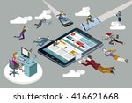 business people flying with... | Shutterstock .eps vector #416621668