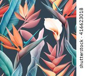 seamless tropical flower  plant ... | Shutterstock . vector #416623018