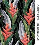 seamless tropical flower  plant ... | Shutterstock . vector #416623090