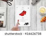 woman online shopping red shoes ... | Shutterstock . vector #416626738
