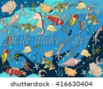life under water line art... | Shutterstock . vector #416630404