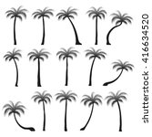 set silhouettes of palm trees... | Shutterstock .eps vector #416634520