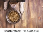 Stock photo bowl of dry kibble dog food and dog s paws and neb over grunge wooden floor 416636413