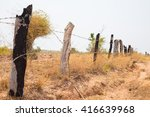 fence made of wooden dry tree... | Shutterstock . vector #416639968
