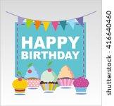 happy birthday vector banner....   Shutterstock .eps vector #416640460