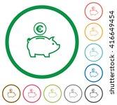 set of euro piggy bank color...