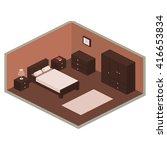 brown bedroom design in... | Shutterstock .eps vector #416653834