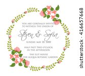 wedding card or invitation with ... | Shutterstock .eps vector #416657668