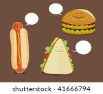 set of fast food. hamburger ... | Shutterstock .eps vector #41666794