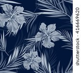 tropical seamless monochrome... | Shutterstock .eps vector #416669620