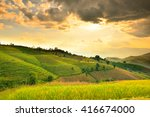 golden rice fields in the... | Shutterstock . vector #416674000
