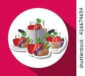 healthy food design. organic... | Shutterstock .eps vector #416674654