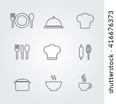 restaurant and cafe icons set.... | Shutterstock .eps vector #416676373