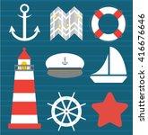 set of marine and beach flat... | Shutterstock .eps vector #416676646