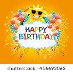 balloons  confetti  firework ... | Shutterstock .eps vector #416692063