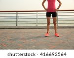 young fitness woman runner at... | Shutterstock . vector #416692564