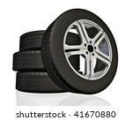 set of car wheels. made in 3d. | Shutterstock . vector #41670880