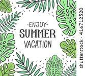 vector bright summer card.... | Shutterstock .eps vector #416712520