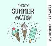 vector bright summer card.... | Shutterstock .eps vector #416712538