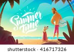 man and dog on beach. summer... | Shutterstock .eps vector #416717326