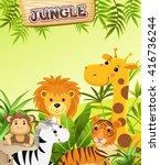 cartoon animals in tropical...   Shutterstock .eps vector #416736244