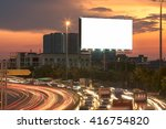 blank billboard at night time... | Shutterstock . vector #416754820