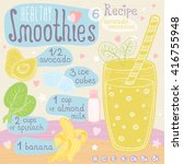 healthy smoothie recipe set.... | Shutterstock .eps vector #416755948