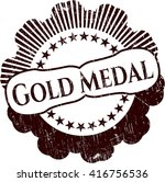 gold medal grunge style stamp | Shutterstock .eps vector #416756536