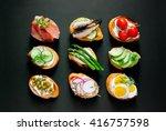 sandwiches on a dark background ...   Shutterstock . vector #416757598