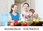 mature woman and adult daughter ... | Shutterstock . vector #416766313