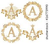golden letter a vintage... | Shutterstock .eps vector #416773990