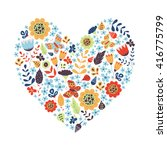 cute vintage heart shape with... | Shutterstock . vector #416775799