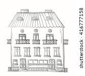hand drawn three storey house... | Shutterstock .eps vector #416777158