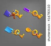 golden cartoon keys with...