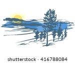vector landscape. imitation of... | Shutterstock .eps vector #416788084