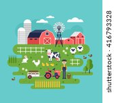 farm food and animals icons.... | Shutterstock .eps vector #416793328