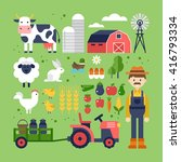 farm food  products and animals ... | Shutterstock .eps vector #416793334