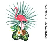 flamingo with palm split leaves ... | Shutterstock . vector #416802493