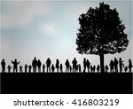 family silhouettes in nature. | Shutterstock .eps vector #416803219