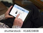 old man shopping online on his... | Shutterstock . vector #416823808
