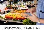 girl use mobile phone  blur... | Shutterstock . vector #416824168
