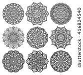 set of mandalas for coloring... | Shutterstock .eps vector #416824540