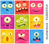 monster faces collection of... | Shutterstock .eps vector #416835514