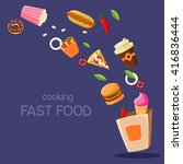 fast food flying in paper bag... | Shutterstock .eps vector #416836444