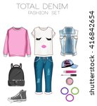fashion set of woman's clothes  ... | Shutterstock . vector #416842654