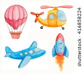 air transport kids watercolor...   Shutterstock . vector #416858224